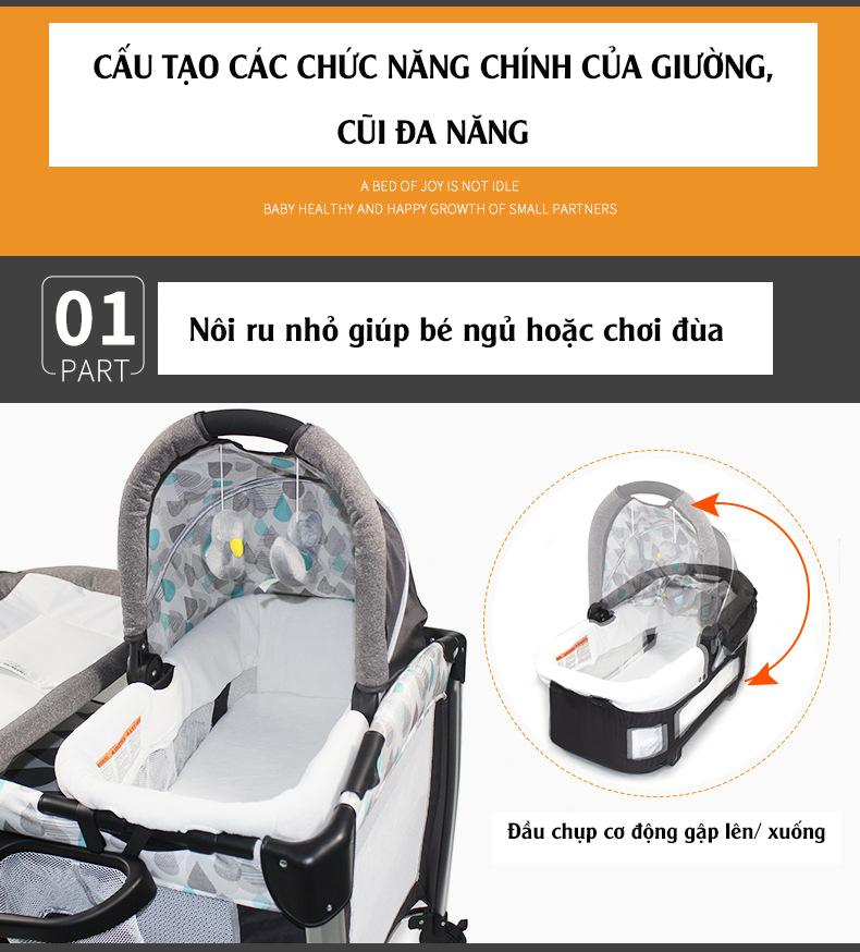 Giường cũi, nôi 4 in1 thông minh cho trẻ sơ sinh Alfor Baby, NHẬP KHẨU - 3
