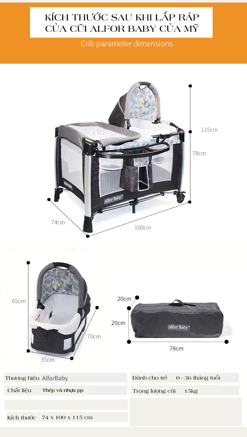 Giường cũi, nôi 4 in1 thông minh cho trẻ sơ sinh Alfor Baby, NHẬP KHẨU - 12