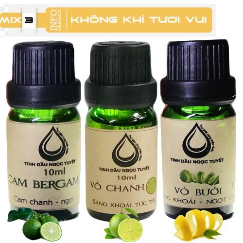 Bộ tinh dầu giúp tạo không khí gần gửi, trong lành 10mlx3 (vỏ chanh, vỏ bưởi, cam begamot) Ngọc Tuyết